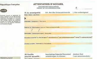 Surat pengesahan tempat tinggal untuk ke Perancis