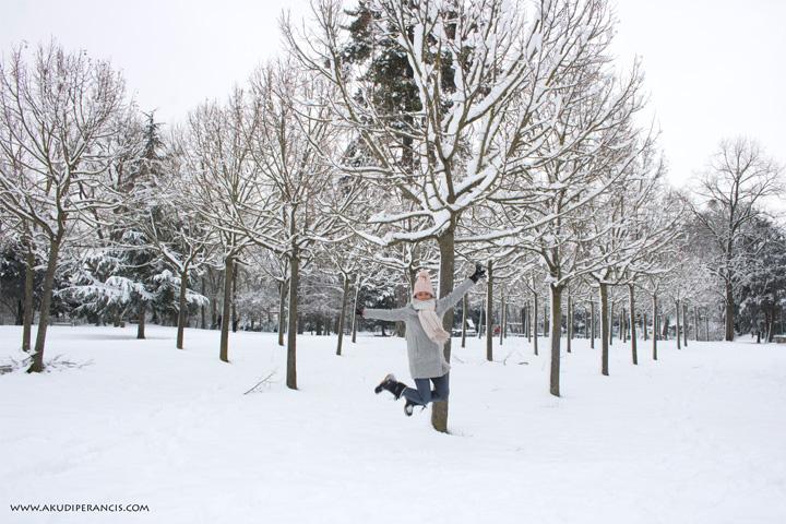 Turunnya Badai Salju Di Paris dan Sekitarnya-berlompat di atas tumpukan salju